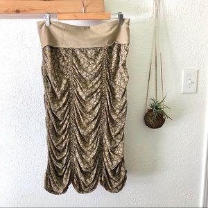 XCVI Khaki gathered midi skirt